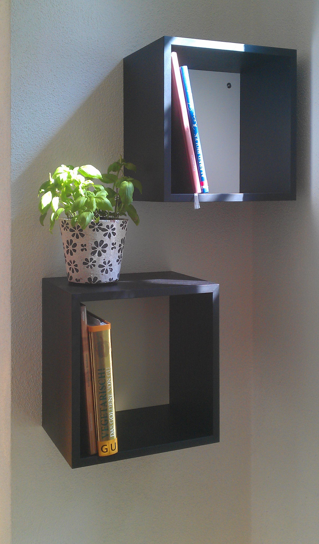 Bücherkubus in MDF schwarz