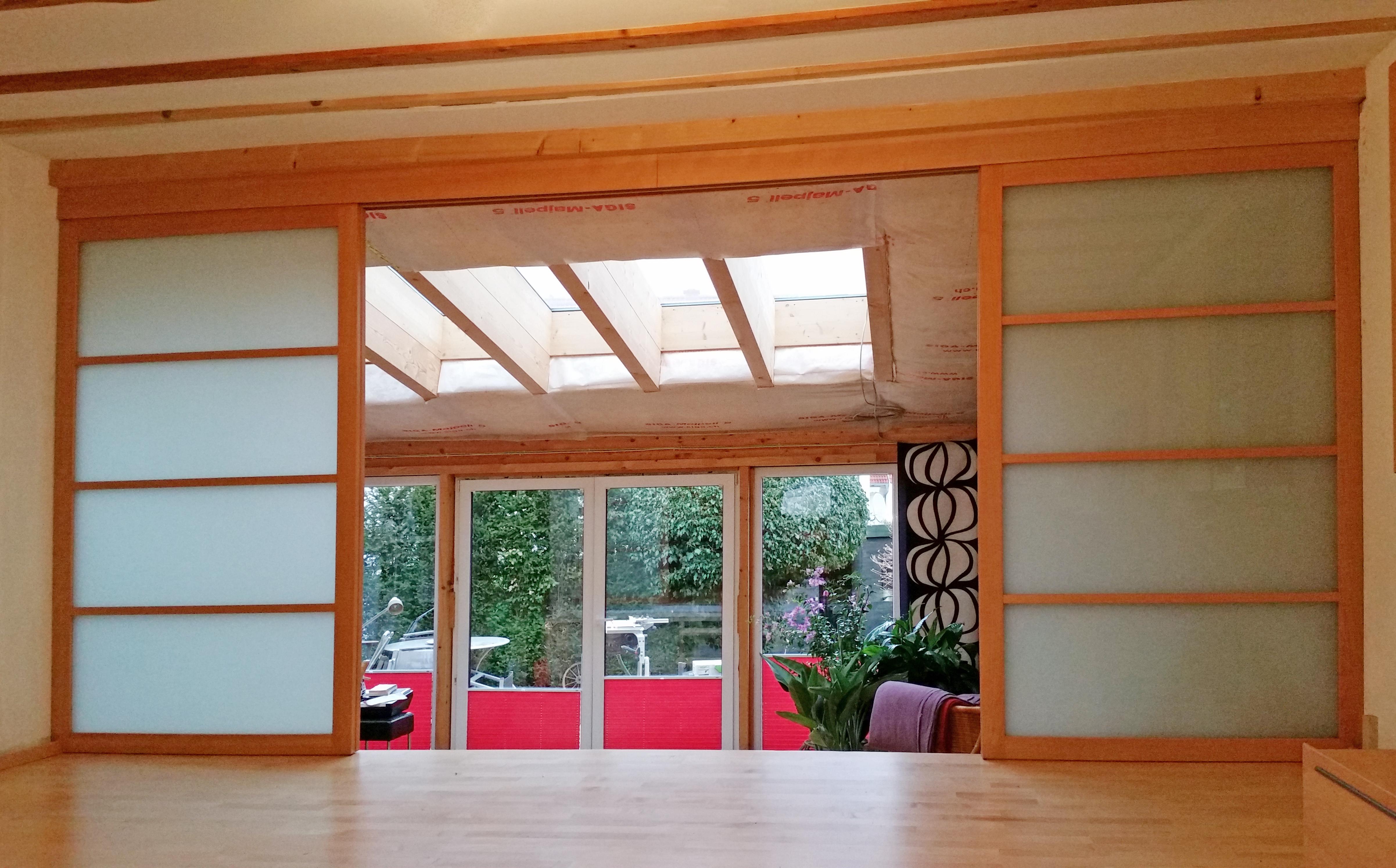 Schiebetüren Glas Buche Wintergarten 2