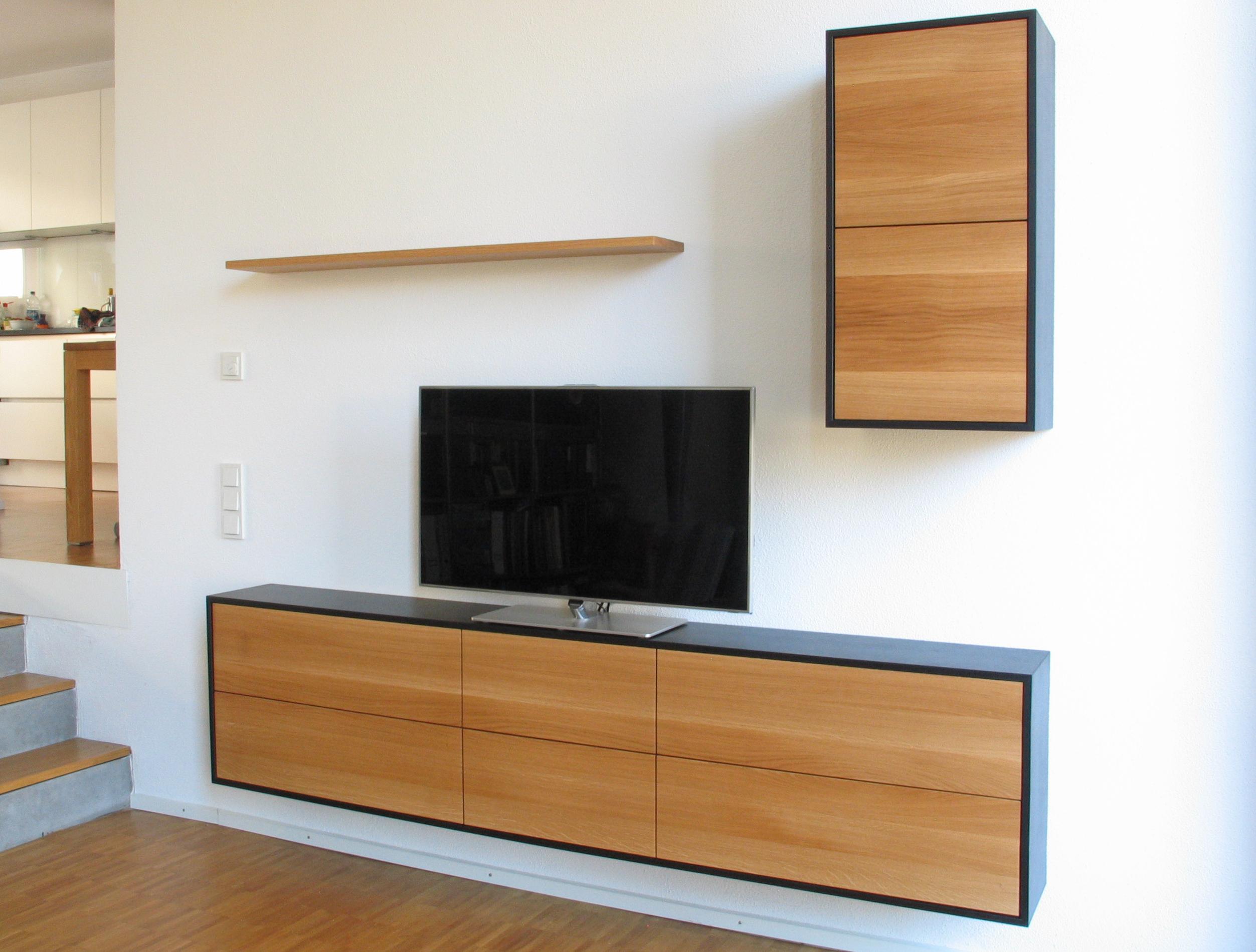 Wohnzimmer Möbel in MDF schwarz und Eiche Massivholz 01