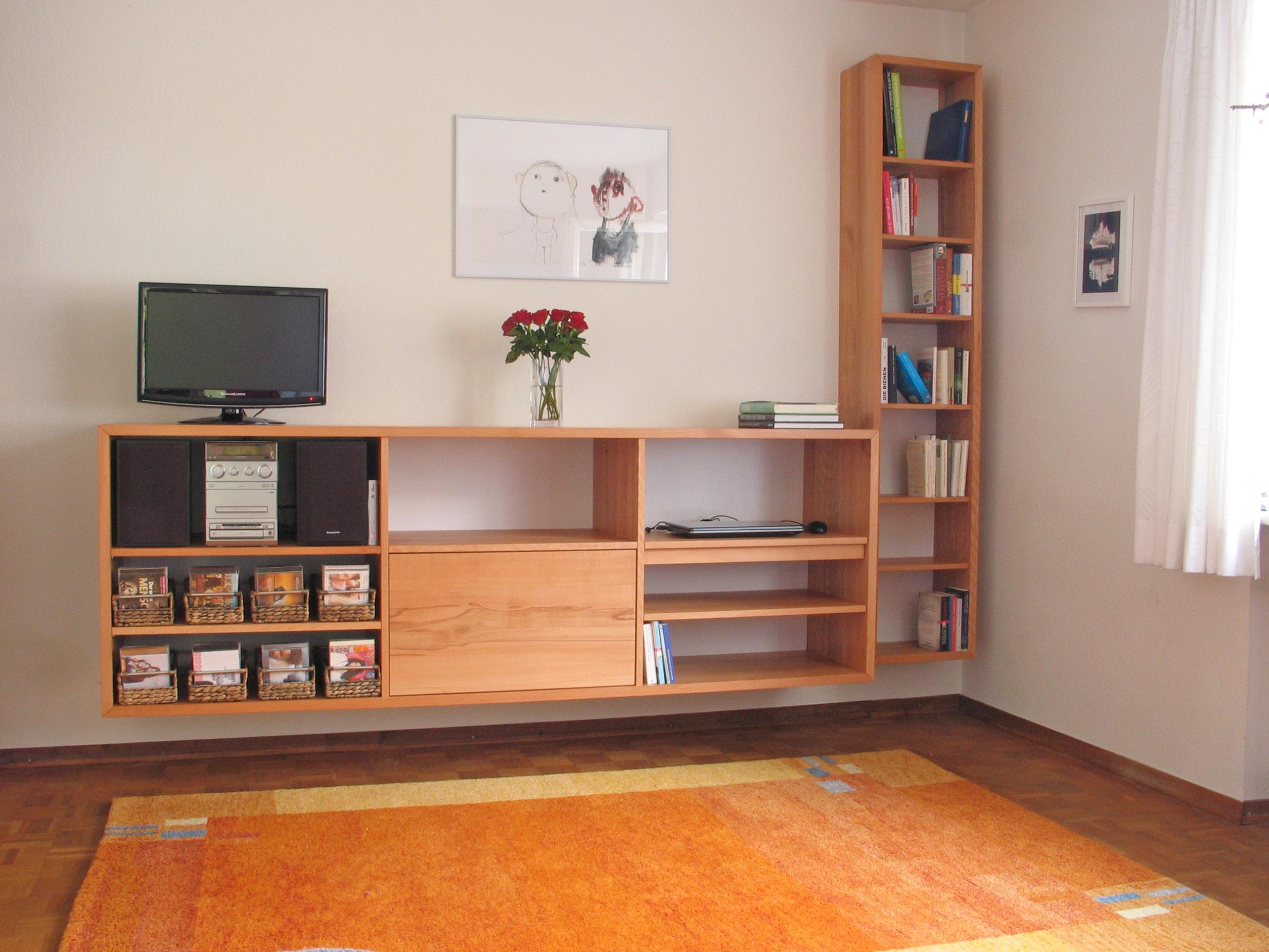 Wohnzimmerregal PC Arbeitsplatz Kernbuche